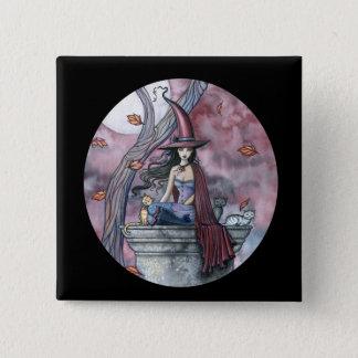 Badge Carré 5 Cm Bouton gothique de Halloween de chat de sorcière,