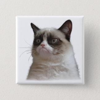 Badge Carré 5 Cm Bouton grincheux d'éclat de chat