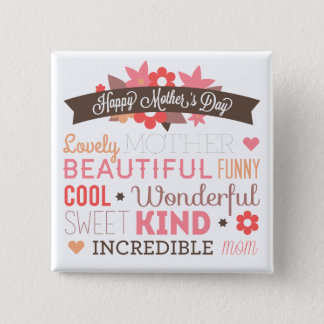 Badge Carré 5 Cm Bouton heureux de Pin du jour de mère de maman
