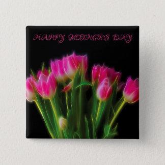 Badge Carré 5 Cm Bouton heureux de tulipe du jour de mère