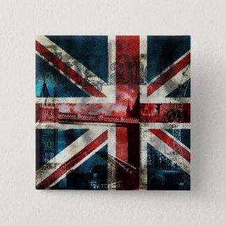 Badge Carré 5 Cm Bouton/insigne d'Union Jack
