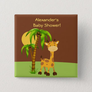 Badge Carré 5 Cm Bouton mignon de baby shower de girafe