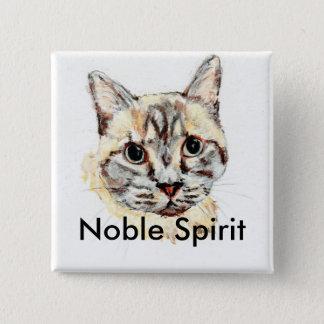 Badge Carré 5 Cm Bouton noble de chat d'esprit