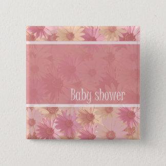 Badge Carré 5 Cm bouton rose de marguerite de baby shower