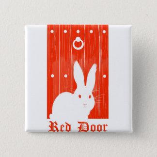 Badge Carré 5 Cm Bouton rouge de lapin de porte