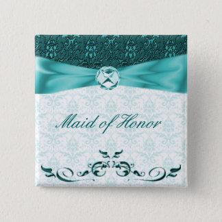 Badge Carré 5 Cm Bouton turquoise victorien de Pin de partie de