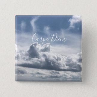 Badge Carré 5 Cm Boutonnez Carpe Diem, belle photo des nuages