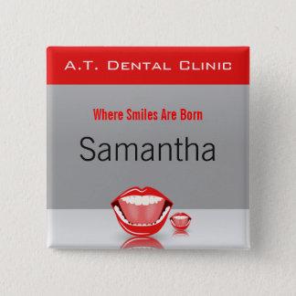 Badge Carré 5 Cm Boutons carrés de grandes de bouche de dentiste