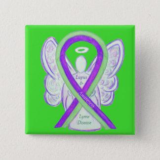 Badge Carré 5 Cm Boutons de ruban de la maladie de Lyme et de