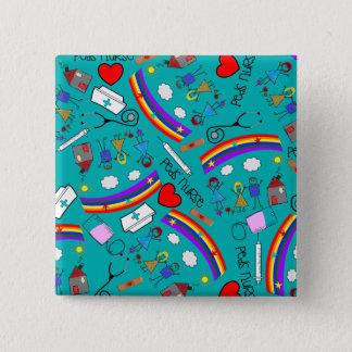 Badge Carré 5 Cm Boutons pédiatriques d'infirmière