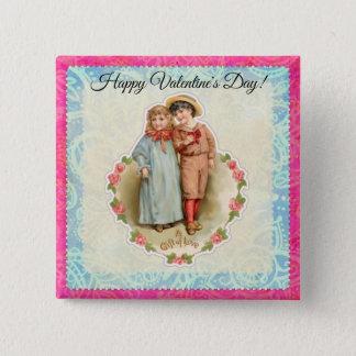 Badge Carré 5 Cm Cadeau victorien vintage d'enfants de l'amour