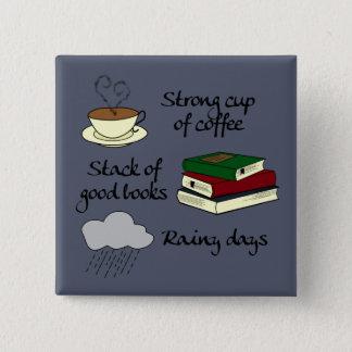 Badge Carré 5 Cm Café, livres et pluie