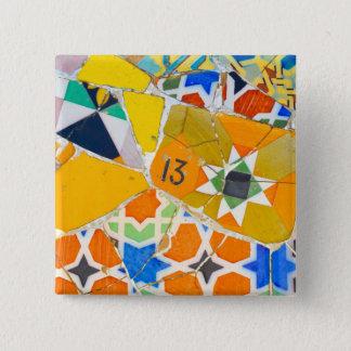 Badge Carré 5 Cm Carreaux de céramique de Parc Guell à Barcelone