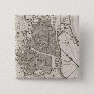Badge Carré 5 Cm Carte vintage de Barcelone Espagne (1764)