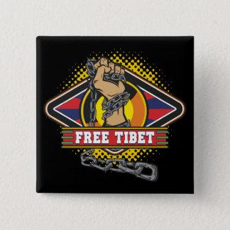 Badge Carré 5 Cm Chaînes libres du Thibet