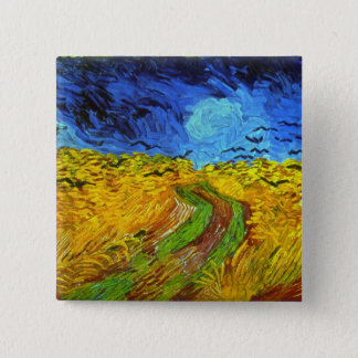 Badge Carré 5 Cm Champ de blé avec des beaux-arts de Van Gogh de