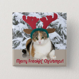 Badge Carré 5 Cm Chat de Kitty et Joyeux Noël de Freakin
