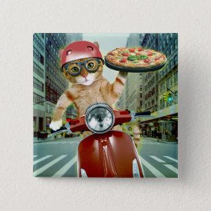 Badge Carré 5 Cm chat de pizza - chat - la livraison de pizza