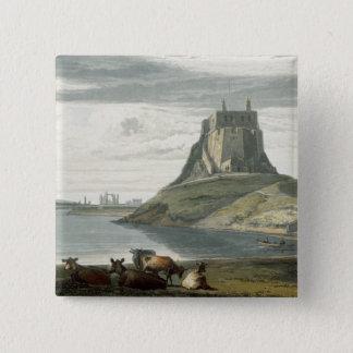 Badge Carré 5 Cm Château sur l'île sainte, le Northumberland, 'd'un