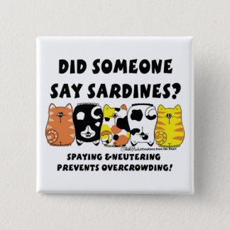 Badge Carré 5 Cm Chats de sardine
