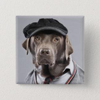 Badge Carré 5 Cm Chien dans le chandail et le casquette