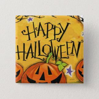 Badge Carré 5 Cm Citrouilles heureux de Halloween