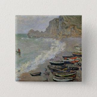 Badge Carré 5 Cm Claude Monet | Etretat, plage et d'Amont de Porte