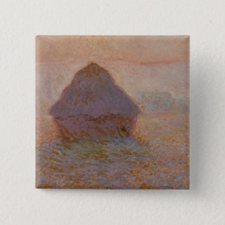 Badge Carré 5 Cm Claude Monet | Grainstack, Sun dans la brume