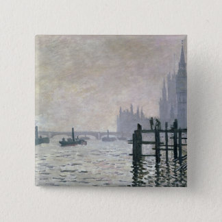Badge Carré 5 Cm Claude Monet | la Tamise au-dessous de Westminster