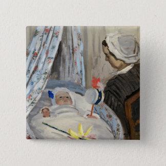 Badge Carré 5 Cm Claude Monet   le berceau, Camille avec le fils