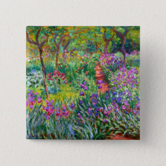 Badge Carré 5 Cm Claude Monet : Le jardin d'iris chez Giverny