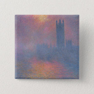 Badge Carré 5 Cm Claude Monet | les Chambres du Parlement, Londres