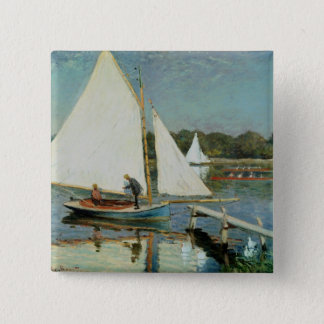 Badge Carré 5 Cm Claude Monet | naviguant à Argenteuil, c.1874