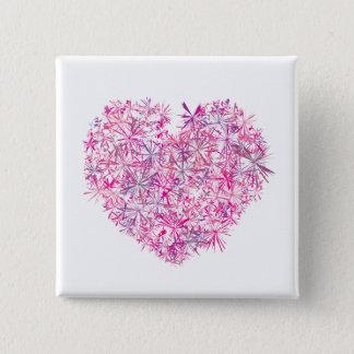 Badge Carré 5 Cm Coeur rose