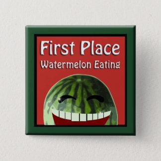 Badge Carré 5 Cm Consommation de pastèque d'endroit de pique-nique