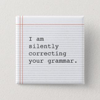 Badge Carré 5 Cm Correction du bouton de grammaire, papier fait sur