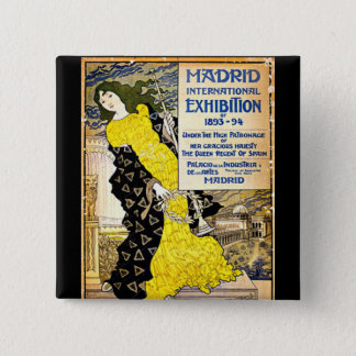 Badge Carré 5 Cm Cru : Exposition internationale de Madrid, 1893-94
