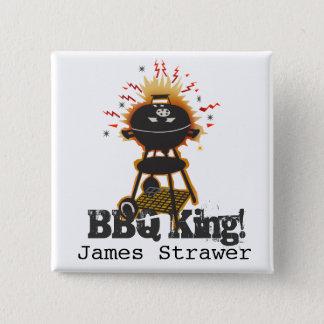 Badge Carré 5 Cm Cuisine de gril grillant le roi de BBQ de nom