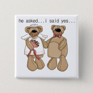 Badge Carré 5 Cm Des ours j'ai dit oui des T-shirts et des cadeaux