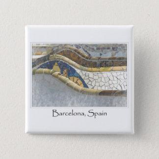 Badge Carré 5 Cm Destination de touriste de Barcelone Espagne Parc