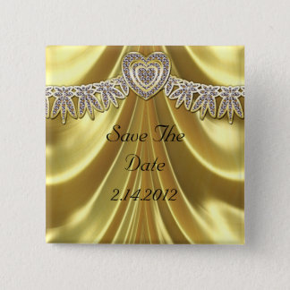 Badge Carré 5 Cm Diamant Fleurette et or de satin