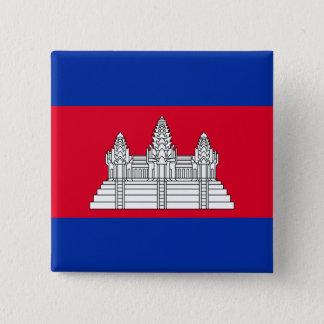 Badge Carré 5 Cm Drapeau du Cambodge