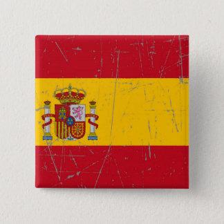 Badge Carré 5 Cm Drapeau espagnol éraillé et rayé