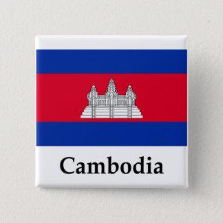 Badge Carré 5 Cm Drapeau et nom du Cambodge