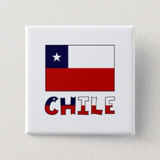 Badge Carré 5 Cm Drapeau et nom du Chili en couleurs