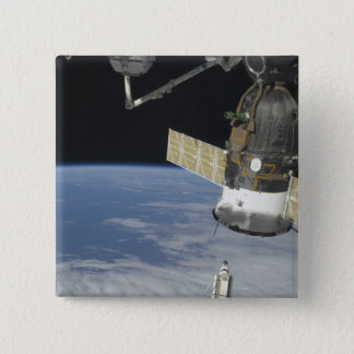 Badge Carré 5 Cm Effort de navette spatiale, un vaisseau spatial de
