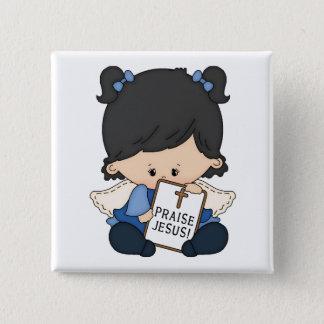 Badge Carré 5 Cm Éloge Jésus - bouton carré