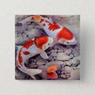 Badge Carré 5 Cm Étang à poissons rouge et blanc de Koi