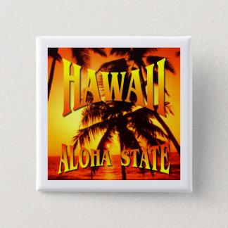 Badge Carré 5 Cm État d'Hawaï Aloha