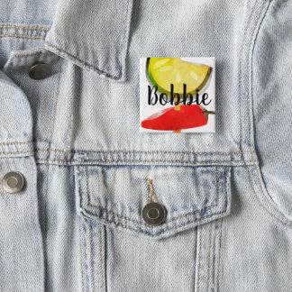 Badge Carré 5 Cm Étiquette végétale de nom de chef de restauration